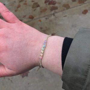 Kawaii Pastel Rainbow Wish Stackable Hemp Bracelet
